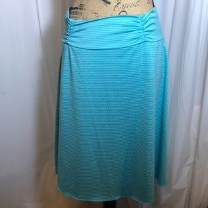 Tranquillity Turquoise Blue Striped Skirt Ruched M